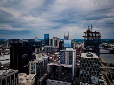 Downtown Nashville Tennessee Drone Aerial Street Photography