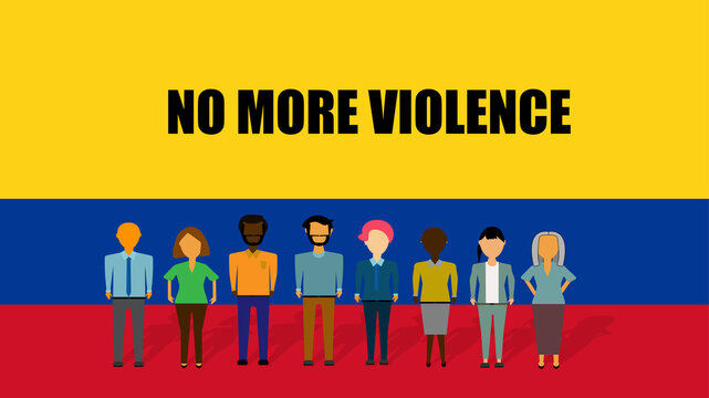 Illustration of a group of people of different ethnic group, demonstrating against violence. In the background the colors of the flag of Colombia. Written in English: No more violence.