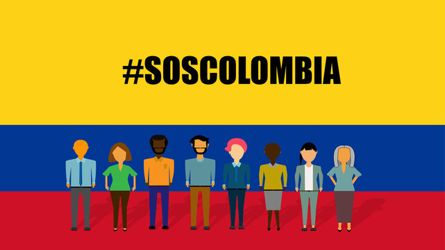 Illustration of a group of people of different ethnic group, demonstrating against violence. In the background the colors of the flag of Colombia. Written in English: #SOSCOLOMBIA