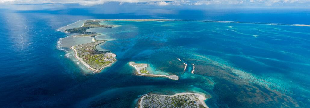 Aerial Panorama of Kanton Atoll in Kiribati