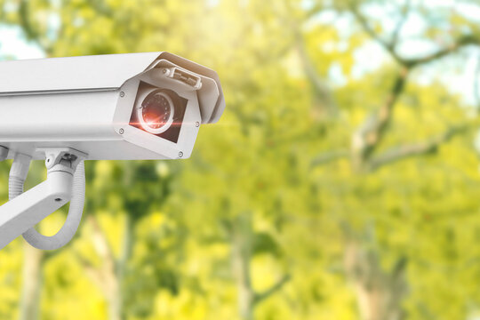 IP CCTV camera. Concept of surveillance and monitoring camera with parking security system concept.