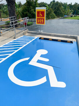 Wheelchair parking space area. Disabled people
