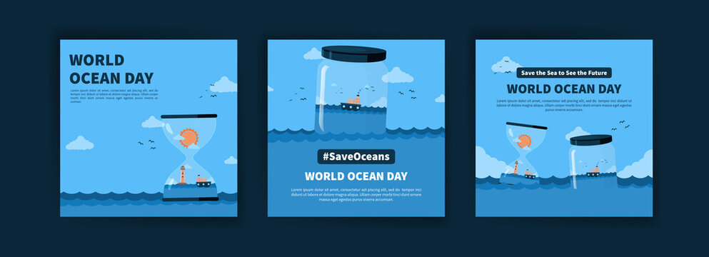 World Ocean Day. Education on the importance of protecting the oceans. Banner vector for social media ads, web ads, business messages, discount flyers and big sale banners.