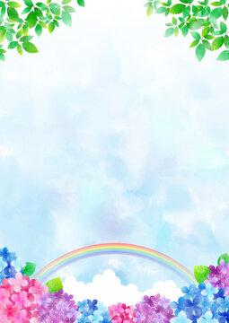 梅雨の紫陽花 背景フレーム ☆ バリエーション多数