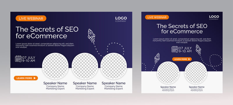 Website SEO live webinar banner invitation and social media post template. Business webinar invitation design. Vector EPS 10