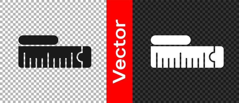 Black Tape measure icon isolated on transparent background. Measuring tape. Vector