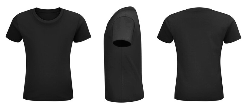 Shirt mock up set. Sport blank shirt template front and back view. Black, gray and white front design. Vector template.