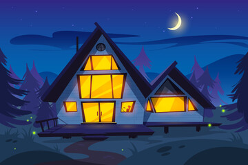 Wooden house in forest at night. Forester cottage. Vector cartoon summer wood landscape with house with glow windows, fireflies, pine trees, moon and stars on sky