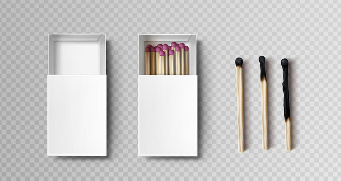 Matches in box, stages of burning from black firebrand head to charred burnt wooden stick, matchsticks with pink sulphur lying in open case isolated on transparent background, Realistic 3d vector set