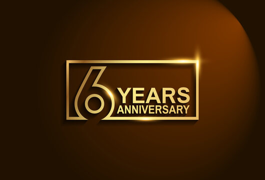 6 years anniversary golden design vector line style in square for template and company special celebration moment