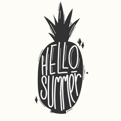 Hello summer. Quote typography lettering for t-shirt design. hand-drawn lettering. for prints on t-shirts,bags, stationary,cards,posters,apparel etc.