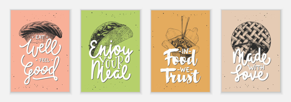 Set of 4 advertising and inspirational fast food and eating lettering posters, decoration, prints, t-shirt design. Hand drawn typography with sketches. Handwritten lettering. Mono line calligraphy.