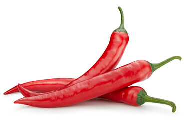 Fototapeta Three chili hot pepper clipping path. Chili pepper isolated on a white background. Fresh pepper obraz
