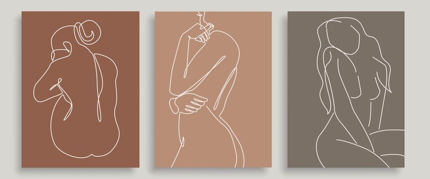 Trendy Line Art Woman Body Prints Set. Minimalistic Line Drawing of Woman Body. Female Figure Continuous One Line Abstract Drawing. Modern Boho and Bohemian Design. Vector Illustration.