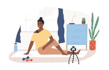 Fitness blogger on yoga mat recording online video classes of sports exercises. Black-skinned vlogger in front of camera on tripod. Colored flat vector illustration isolated on white background