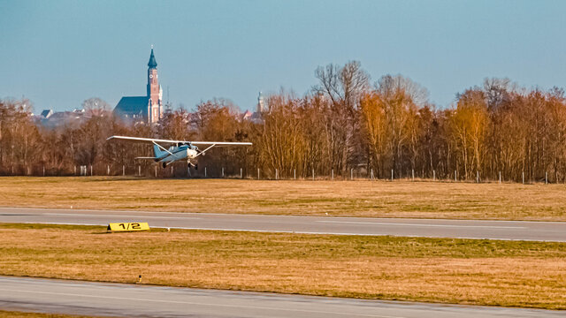 Beautiful winter view with airplanes at Straubing airport, Bavaria, Germany