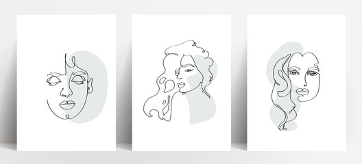 Fototapeta Simple pattern banner logo illustration Hand painted The woman's face is smooth and looks expensive.