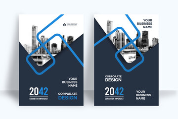 Obraz City Background Business Book Cover Design Template - fototapety do salonu
