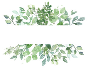 Leaves frame border. Watercolor hand painting floral geometric background. Leaf, plant, branch isolated on white.