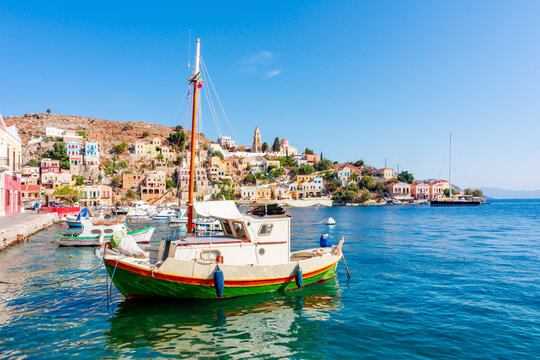 Boats and yachts in Symi port, Dodecanese islands, Greece