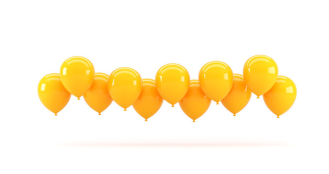 Yellow balloons on a white background. 3d render illustration.