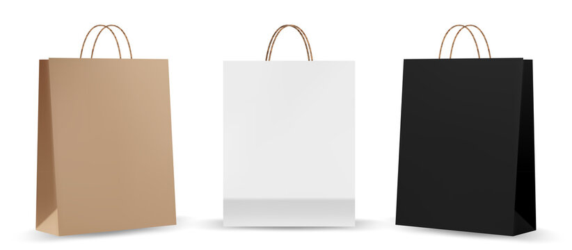 Shopping bag mockups. Paper package isolated on white background. Realistic mockup of craft paper bags.