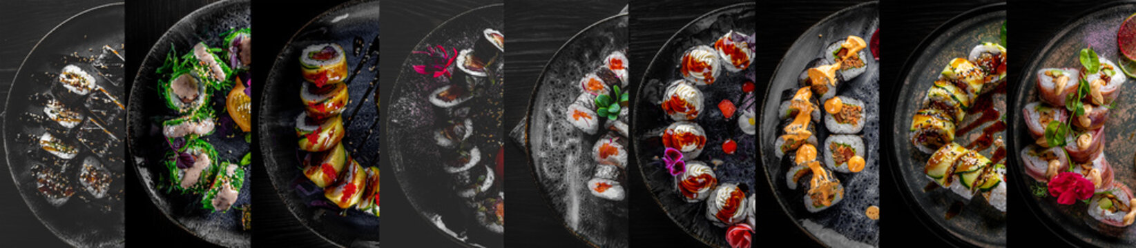 Banner for sushi roll menu. collage of different plates of sushi in assortment
