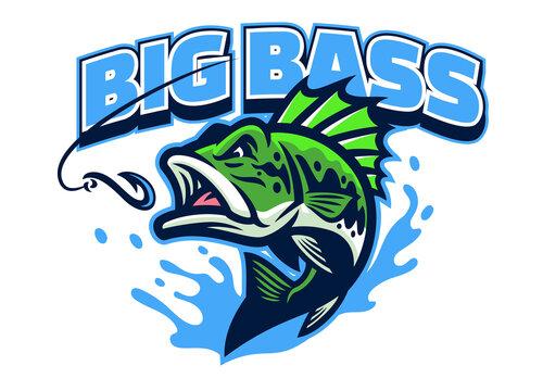 largemouth bass fish mascot logo