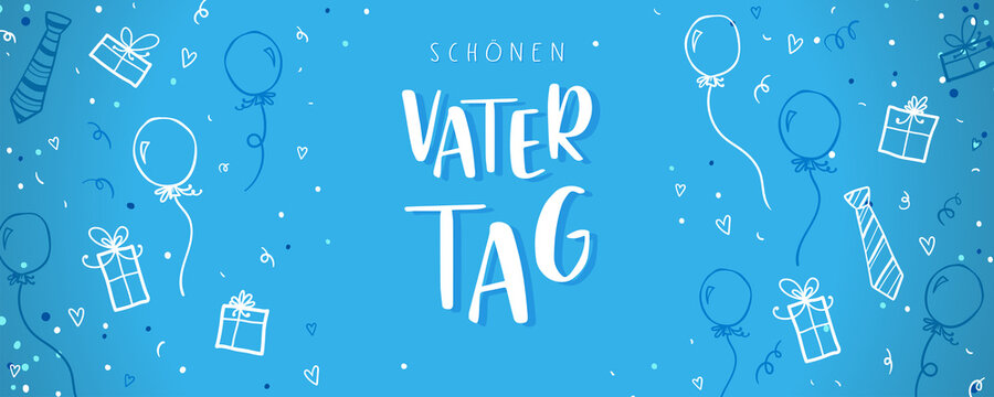 """Cute Father's Day design in german language saying """"Happy Father's Day"""", hand drawn doodles, gift boxes, balloons, confetti - great for banners, wallpapers, cards, image covers - vector design"""