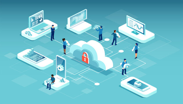 Vector of men and women using cloud service