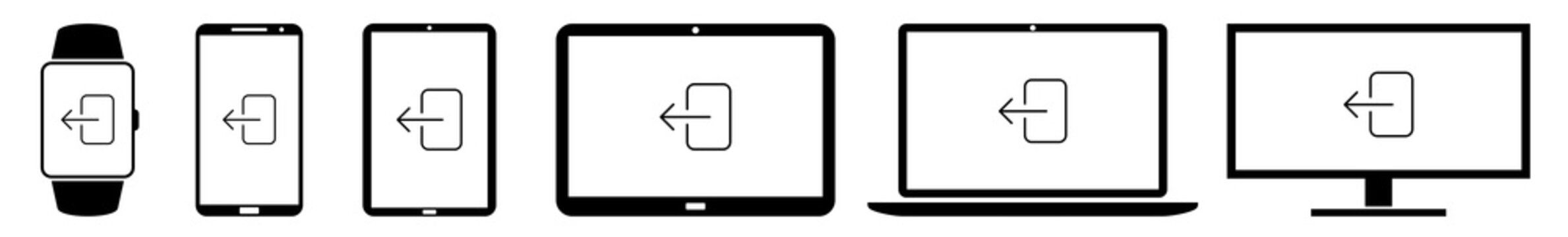 Display logout, log, out, exit, access, entrance Icon Devices Set | Web Screen Device Online | Laptop Vector Illustration | Mobile Phone | PC Computer Smartphone Tablet Sign Isolated