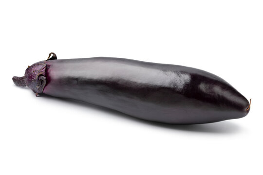 Single fresh ripe purple eggplant close up isolated on white background
