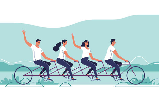 Group of young people riding a tandem bike. The concept of teamwork. Vector illustration.
