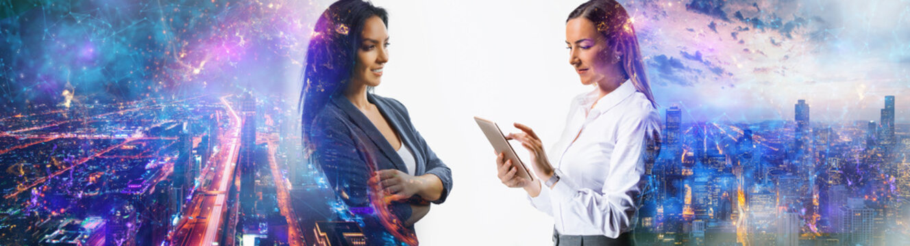 international tempt connects europe and asia - business women at work online