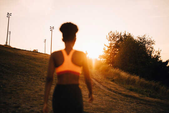 Rear view female athlete looking at sunset