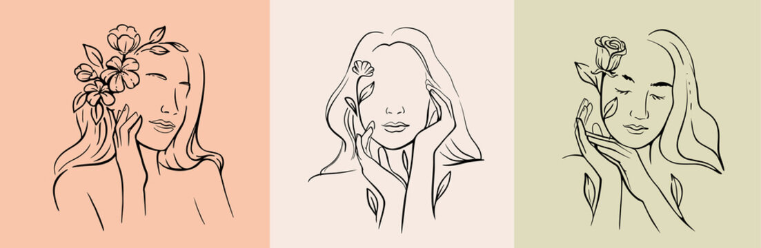 Woman face line drawing. Vector abstract line with flower and leaf