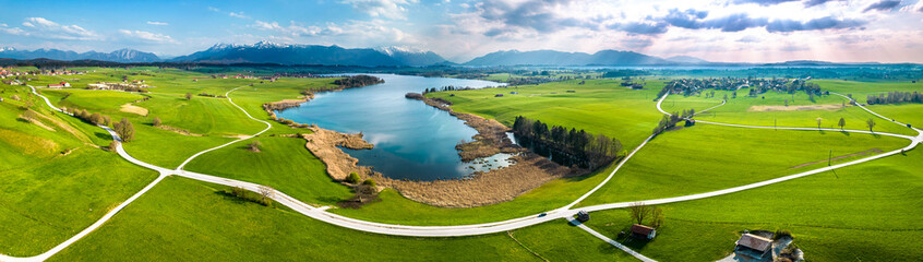 Fototapeta landscape at the riegsee in bavaria