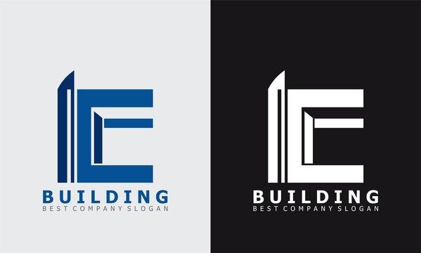 letter E building vector logo