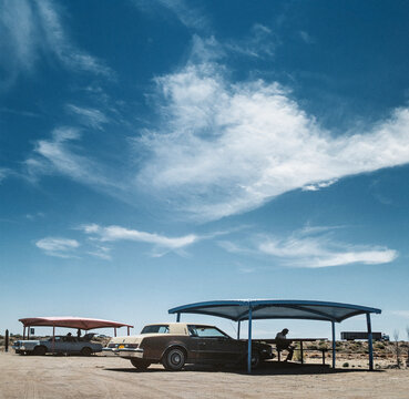 Parking spot and recreation area near highway. Las Cruces New Mexico, Chihuahuan Desert. Metal shelters. 1990
