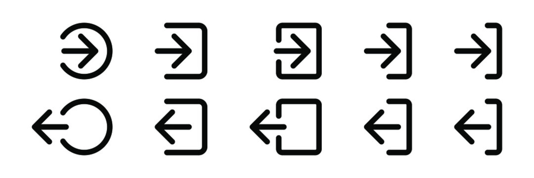 Login and logout icon, Sign In and Sign Out icon vector.