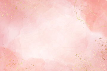 Fototapeta Abstract dusty blush liquid watercolor background with golden crackers. Pastel pink marble alcohol ink drawing effect. Vector illustration design template for wedding invitation obraz