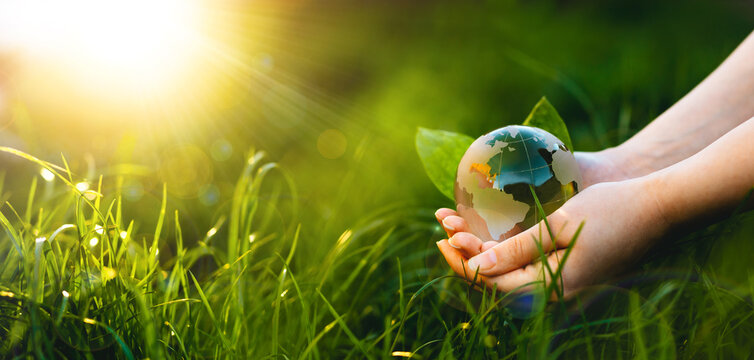 Hands holding crystal earth globe in sunny green grass.  Environment, save clean planet, ecology concept. Earth Day banner with copy space.