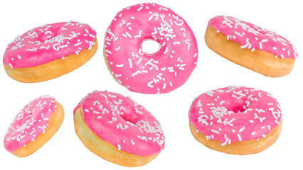 Wall Murals Sweet Monsters Close-up set of glazed pink donuts isolated on a white background.