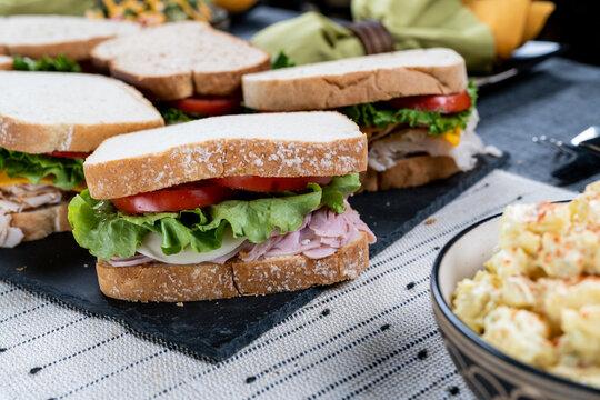 Sandwich and potato salad