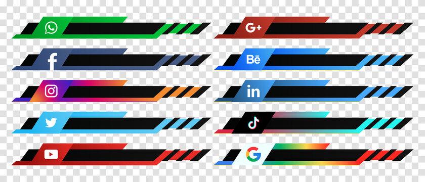Social media web lower third banners template design. Vector illustration