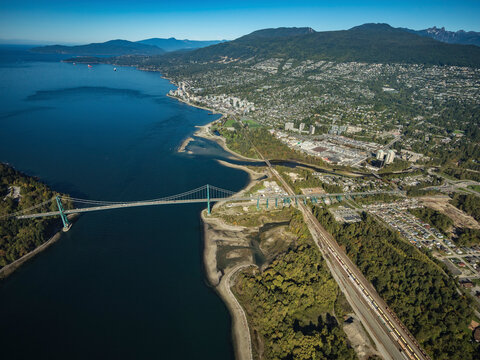 Stock aerial photo of The Lions Gate Bridge and West Vancouver, Canada