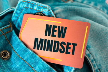 Text sign showing NEW MINDSET
