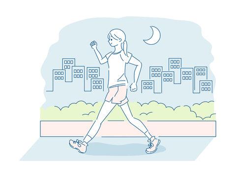 夜にウォーキングする女性のイラスト
