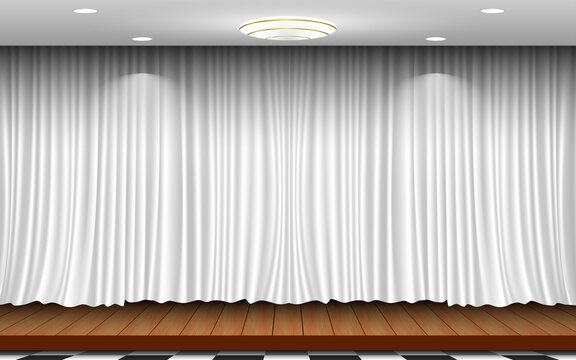 wooden stage and white curtain background in the white room