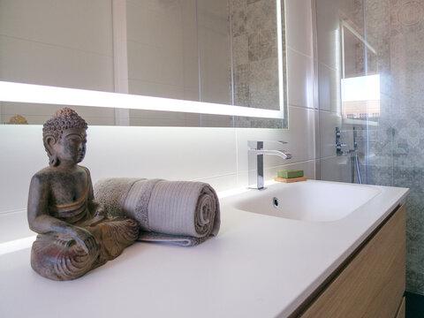 Minimalist modern bathroom (detail)